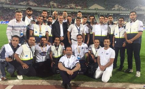 امدادگران هیات فوتبال بازی دربی را پوشش دادند