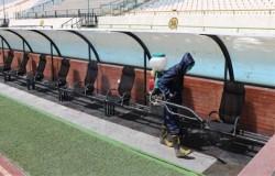 سومین مرحله ضدعفونی کردن ورزشگاه آزادی برای دیدار استقلال و سایپا