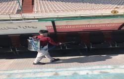 ضد عفونی ورزشگاه آزادی تهران پیش از برگزاری مسابقه پرسپولیس شهر خودرو